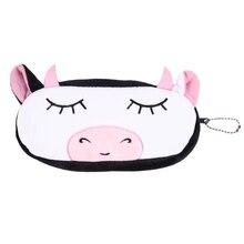 Enfants dessin animé porte-crayon en peluche grand stylo sac cosmétique maquillage dessin animé sac de rangement vache