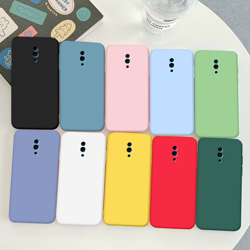 For OPPO Reno Case Soft TPU Silicone Simple Macaron Colors Candy Black Simple Phone Back Cover