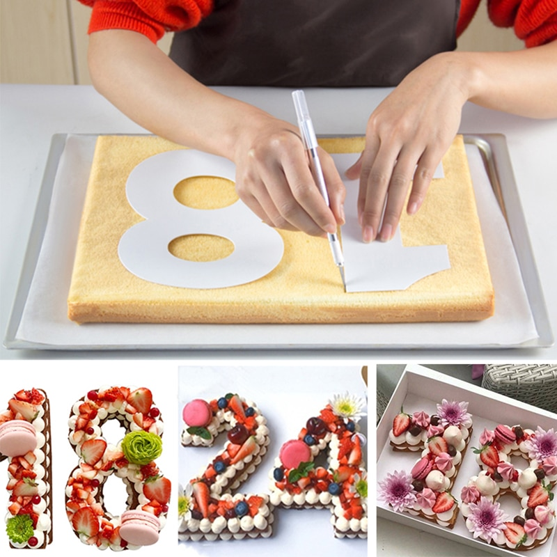 6/8/10inch PET 0-8 Numbers Cake Mold Sets Cake Decorating Tools Confeitaria Maker DIY Birthday Cake Design Bakeware Pastry Tools