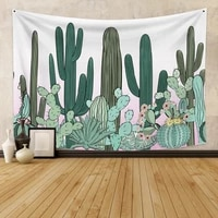 laeacco green cactus tapestry tropical plant wall hanging farmhouse tapestries tablecloth bedspread tenture carpet