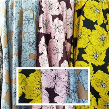 Floral print impervious fabric dress pants shirt kerchief ornament silk scarf Satin shiny fabric
