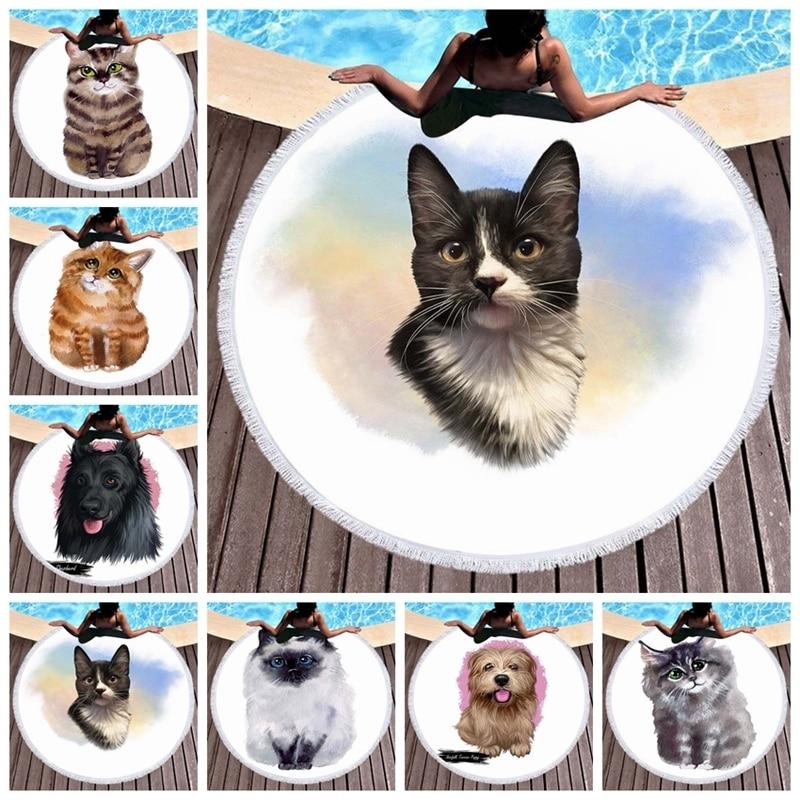 Anime mascota gato perro 3D impreso Toalla de playa absorbente suave Toalla de microfibra redonda para adultos niños alfombra de playa tapiz estera de Yoga
