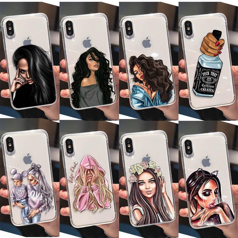 Moda Instagram hermosa rizos marrones Grily Mujer Teléfono caso para iPhone 6 6S 7 8 Plus X XS XR casos Blonde Sexy Grils Cover