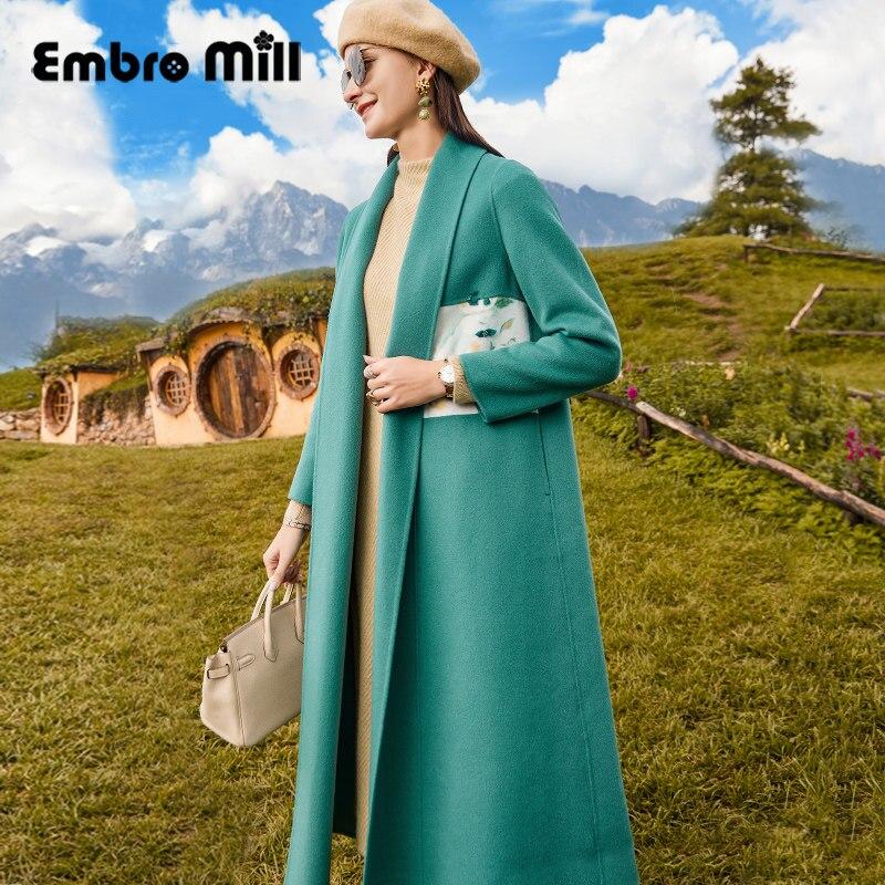الشارع نمط الخريف والشتاء جديد المرأة منتصف طول طباعة الديكور خياطة المعصم كم أنيقة الوجهين الصوفية معطف S-XL