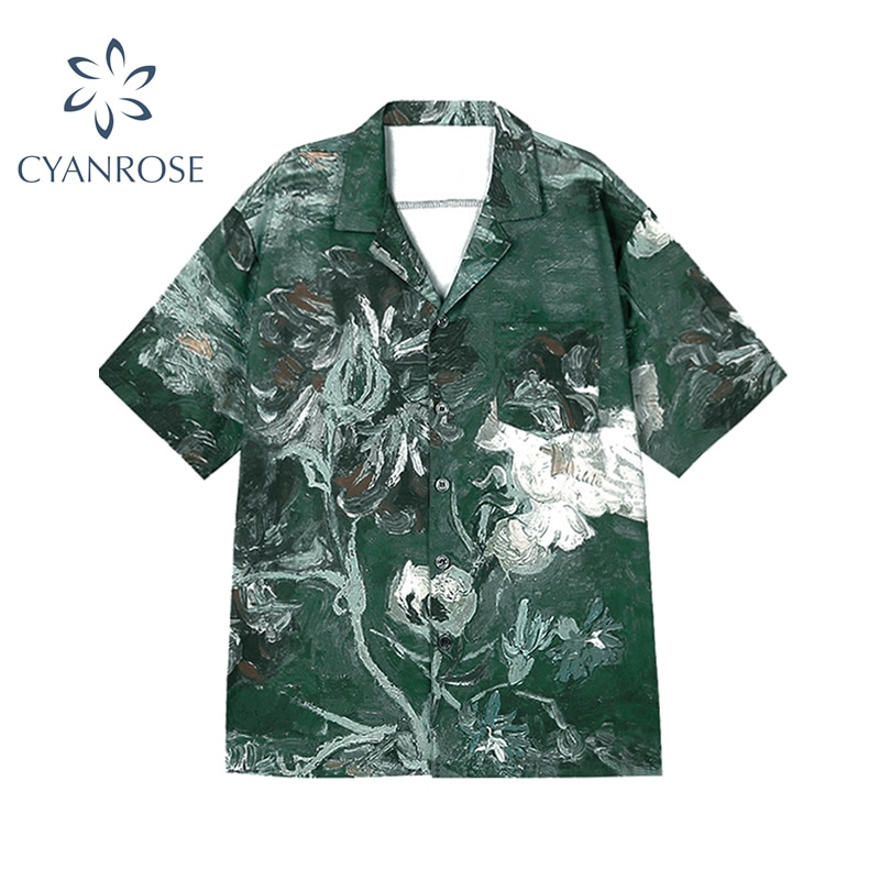 Oil Painting Green Top Button Up Shirt Women Lapel Short Sleeve Blouse Floral Print Loose Top Summer 2021 Ladies Beach Clothing