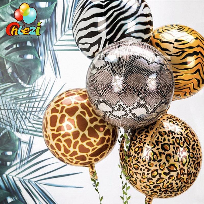 Воздушные шары из фольги 4D с животным принтом, 22 дюйма, украшение для дня рождения, свадьбы, лесвечерние, вечеринки, баллоны с гелием, тигром, ...