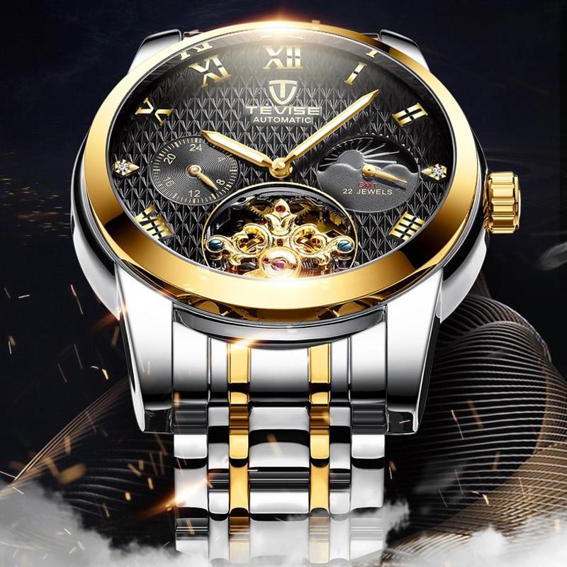 TEVISE Fashion Moon Phase Tourbillon Mechanical Watch Men Unique Design Top Brand Luxury Steel Strap