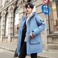 90 white duck down mens down jacket thick hooded thick down jacket mens casual high quality winter coat parka coat
