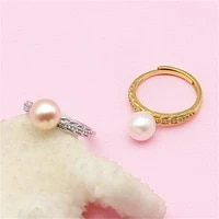 pearl ring hollow holder silver plated diy pearl ring silver accessories fashion open ring can be adjusted