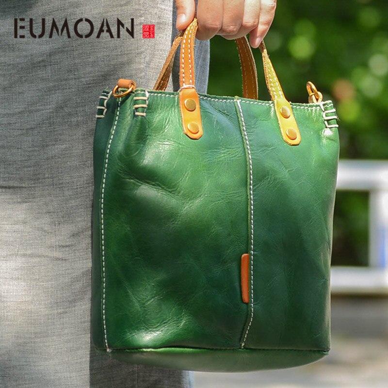 EUMOAN Artesanal bolsa de couro, couro simples one-ombro inclinado saco, Inglês vento maleta do vintage feminino