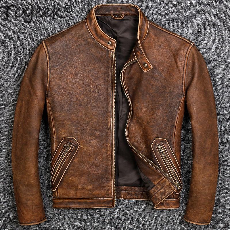 Tcyeek 100% Real Leather Coat Men Autumn Winter Clothes 2020 Streetwear Genuine Cow Leather Jacket Mens Fit Moto Biker Coats 681