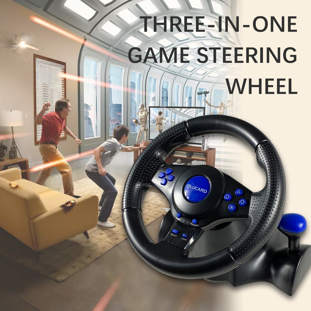 4 In 1 Racing Steering Wheel For Ps4 Shock For Ps2 Game Steering Wheel PC Vibration Joysticks Remote Controller Wheels Drive enlarge
