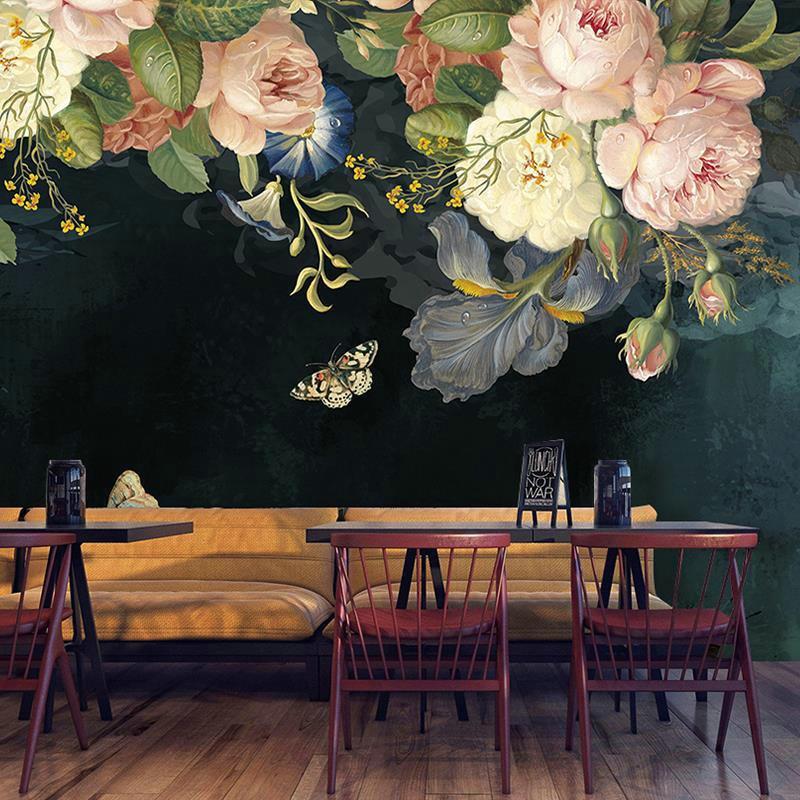 Custom 3D Wallpaper Silk Cloth Waterproof Canvas Murals Wall Painting Pastoral Floral Flower Oil Black Mural