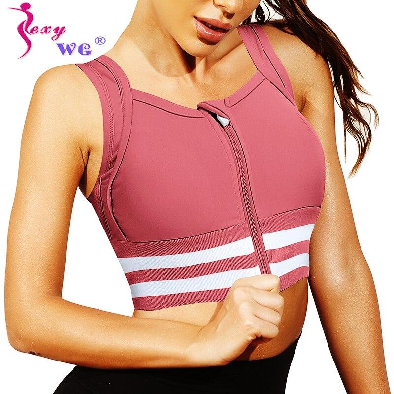 Sexywg mulher esportes superior yoga sutiãs com zíper à prova de choque correndo colete ativo wear push up sutiã acolchoado esportes sutiã esportivo