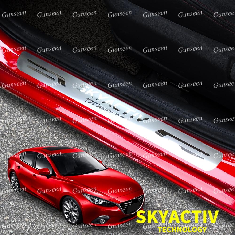 For Mazda Door Sill Protector Accessories 2 3 6 CX30 CX5 CX9 CX8 Car Threshold Scuff Plate Steel Pedal Trim Sticker Styling