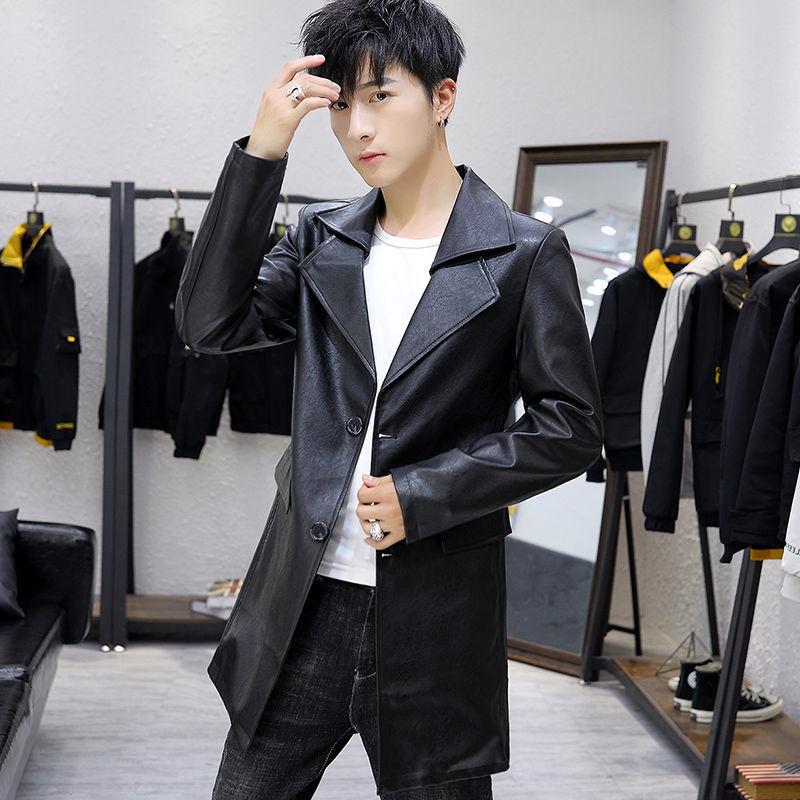 منتصف طول معطف جلد الرجال 2021 الربيع والخريف الكورية نمط الشباب و منتصف العمر الترفيه تنوعا خندق معطف