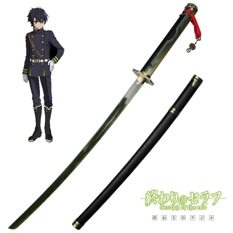 Anime swords samurai katana props Yuichiro Hyakuya sword cosplay knife carbon steel green color blade no sharp