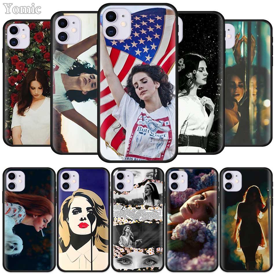 Negro TPU caso suave para Apple iPhone 7 11 Pro XR X XS X MAX 8 6 6S Plus 5 5S SE 2020 de silicona teléfono móvil bolsas cubierta de Lana Del Rey