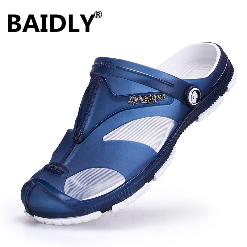 Homens sandálias de geléia chinelos de salto plano respirável buraco antiderrapante sapatos de água wading tênis de praia de alta qualidade do aqua sapato