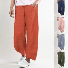 2020 Women Pants Summer Bohemian Solid Color Cotton Flax Elastic Long Pants Beach Casual Trousers beach trousers women