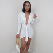Elegant Women Casual Mini Dress Solid Color Deep V Neck Long Sleeve Sexy Package Hip Skirt Party Clu