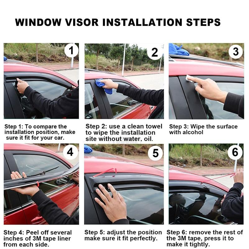 Купить с кэшбэком Side Window Deflectors For Nissan Xtrail X-trail t32 Rouge 2014 2015 2016 2017 2018 2019 2020 Window Visor Sun Rain Deflectors