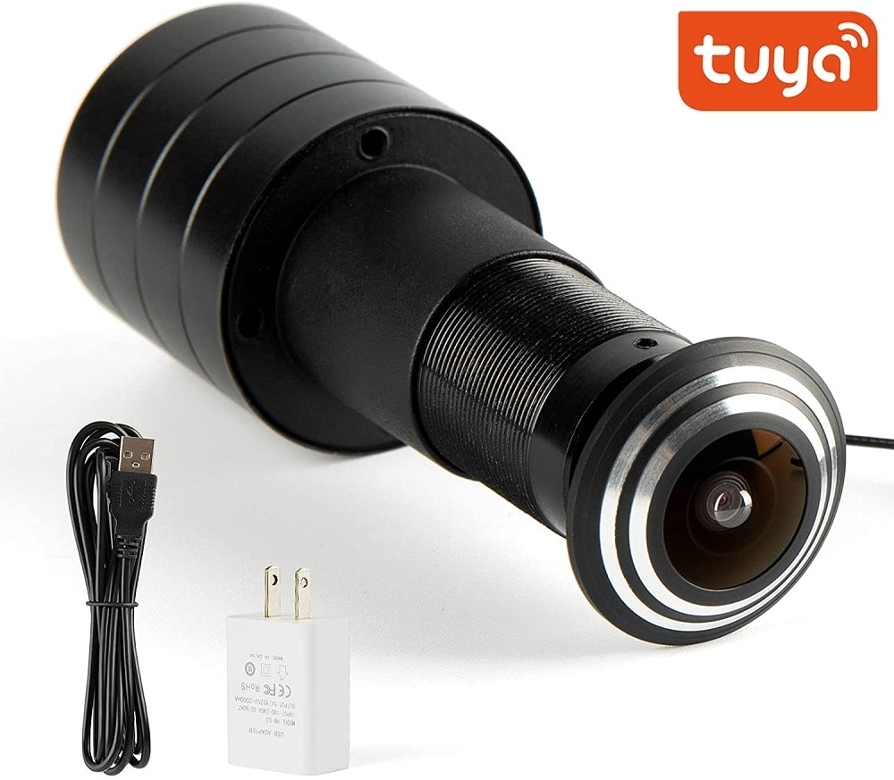 Tuya الذكية باب العين كاميرا واي فاي 1080P HD داخلي صغير لاسلكي الأمن كاميرا بثقب دقيق عين السمكة كشف الحركة دعم TF بطاقة