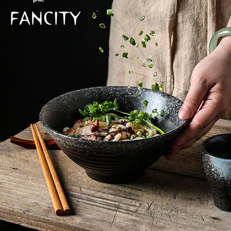 وعاء خزفي ياباني ، إناء رامين كبير للأرز والشوربة ، طقم أدوات مائدة إبداعي ، غطاء رأس للعمل