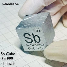 Antimony Cube 25.4mm Metallographic Sb Purity 99.9% Element Hobby Collection Toy Specimen Weight App