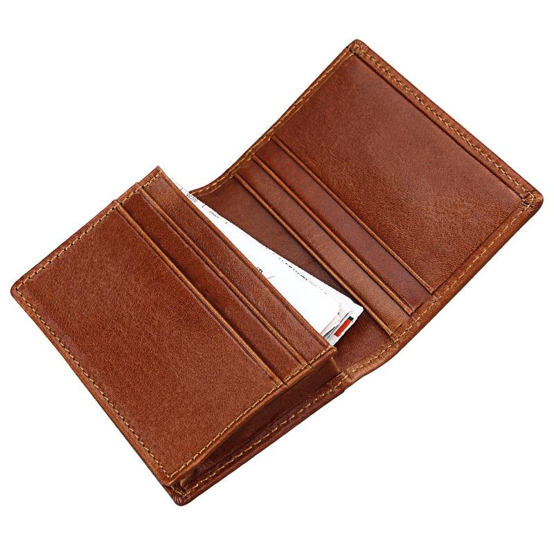 Genuine Leather Business Name Cards Holders Men Vintage Cards Package Crazy Horse Short Style Bag Credit Card Holder TW2731