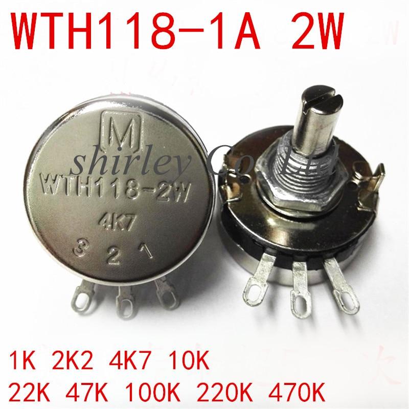 100% newlinear único interruptor giratório do potenciômetro WTH118-1A wth118 2 w com porcas e calço 1 k 2k2 4k7 10 k 22 k 47 k 100 k 220 k 470 k 1 m