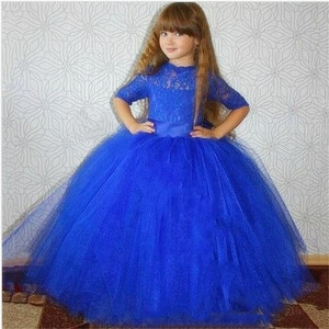 Royal Blue Princess Flower Girl Dresses Fluffy Tulle Half sleeve Birthday Party Gown  Girls First Holy Communion Pageant Dresses