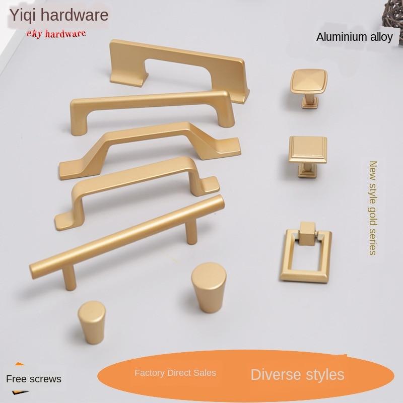 Direto da fábrica simples alça de ouro guarda-roupa ferragem alluvial ouro maçaneta da porta gaveta botões jóias armário móveis