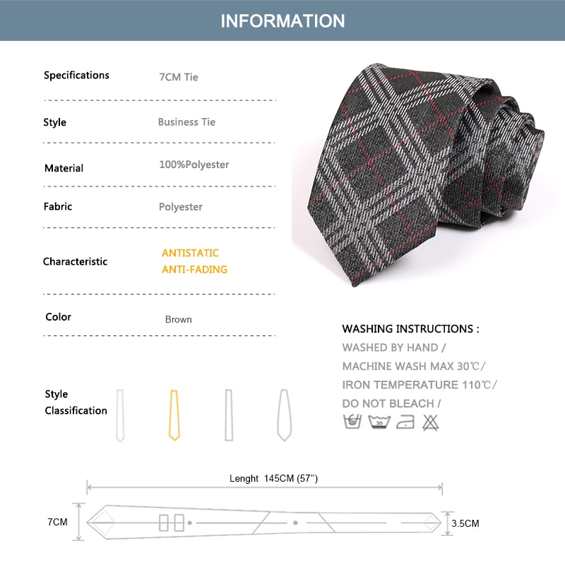 2020 Brand New Mens Plaid Tie High Quality Dark Grey 7CM Ties For Men Fashion Business Suit Necktie Great For Wedding Party Work