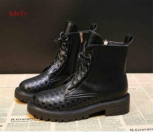 Women Boots Women's Short Boot Platform Motorcycles Shoes Female 2020 New style All-match Cross-tied Zip Chelsea Boots Winter