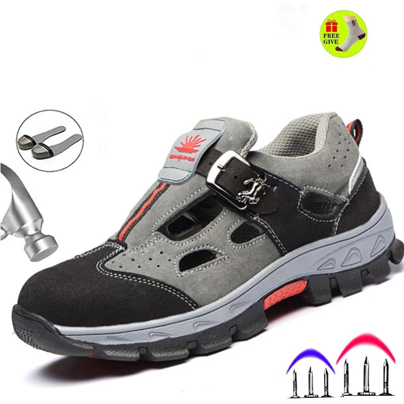أحذية السلامة للرجال مع مقدمة فولاذية مسامية ، أحذية رياضية غير رسمية للعمل ، أحذية مريحة ، مقاومة للثقب Sh ، دروبشيبينغ