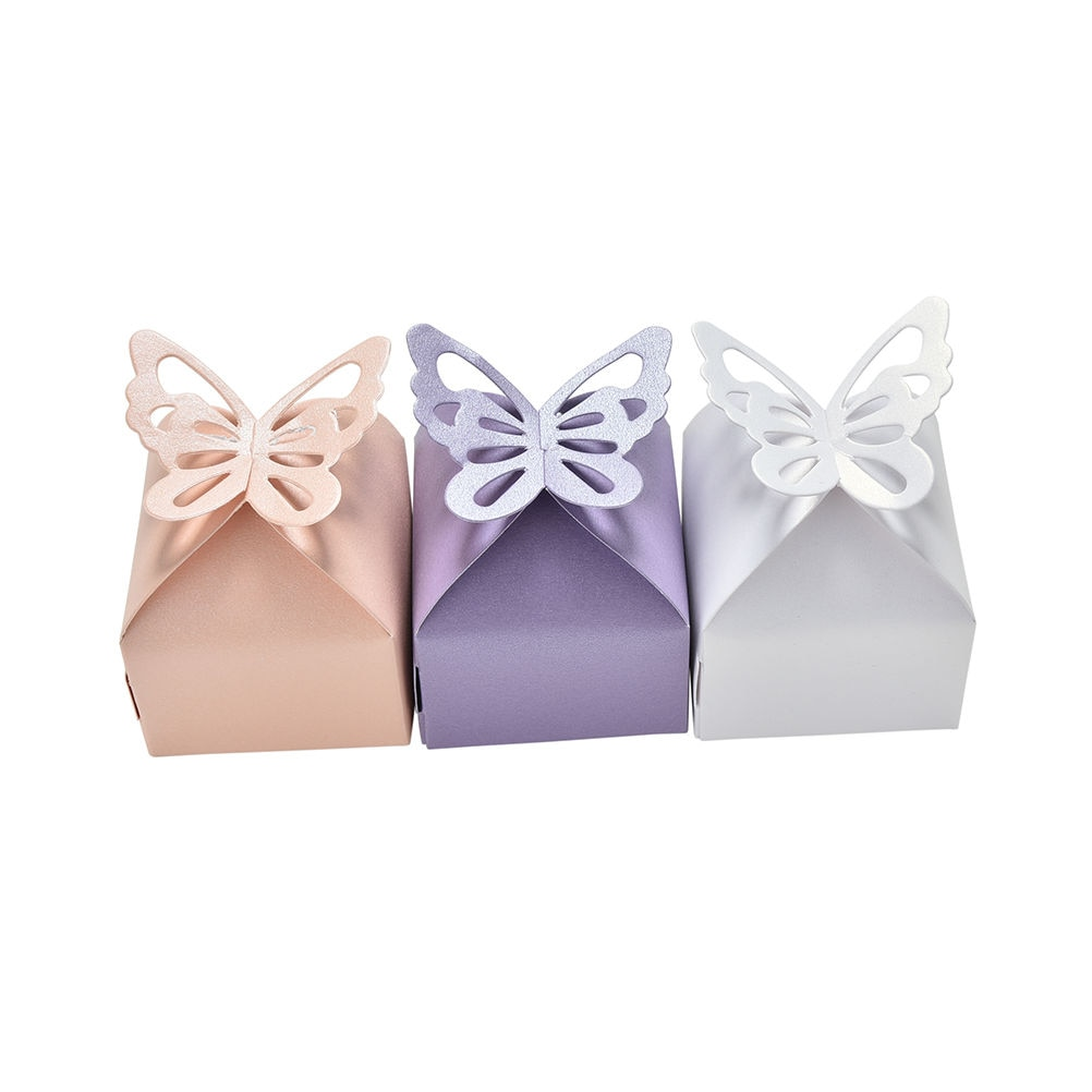 50 Uds. Cajas de dulces con mariposas, 6x6x6cm, bricolaje, fiesta, Baby Shower,...
