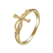 Bague classique en or couleur croix incrustée de cristal blanc et strass pour femmes, fiançailles, bijoux de mariage, taille 6 7 8 9 10 11