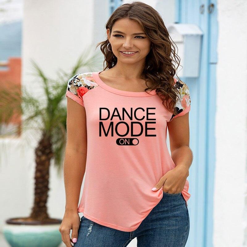 Camiseta de mujer con estampado de letras dance mode, camiseta de manga corta con empalme informal para mujer, camiseta para chica, camiseta Hipster Tumblr, triangulación de envíos