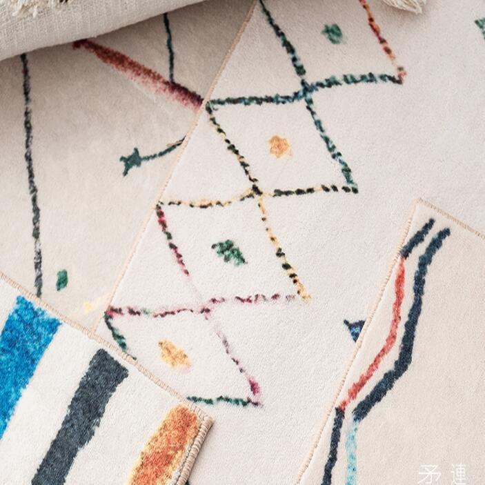 سجادة مغربية لغرفة النوم ، إكسسوار قطيفة ، لون كريمي ناعم ، منفوش ، ديكور منزلي