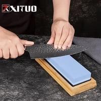 xituo sharp premium whetstone grit 30008000 knife sharpening kitchen chef knife sharpener with bamboo non slip rubber base