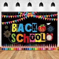 laeacco back to school day photo background welcome children bunting crayons blackboard photographic backdrop for photo studio