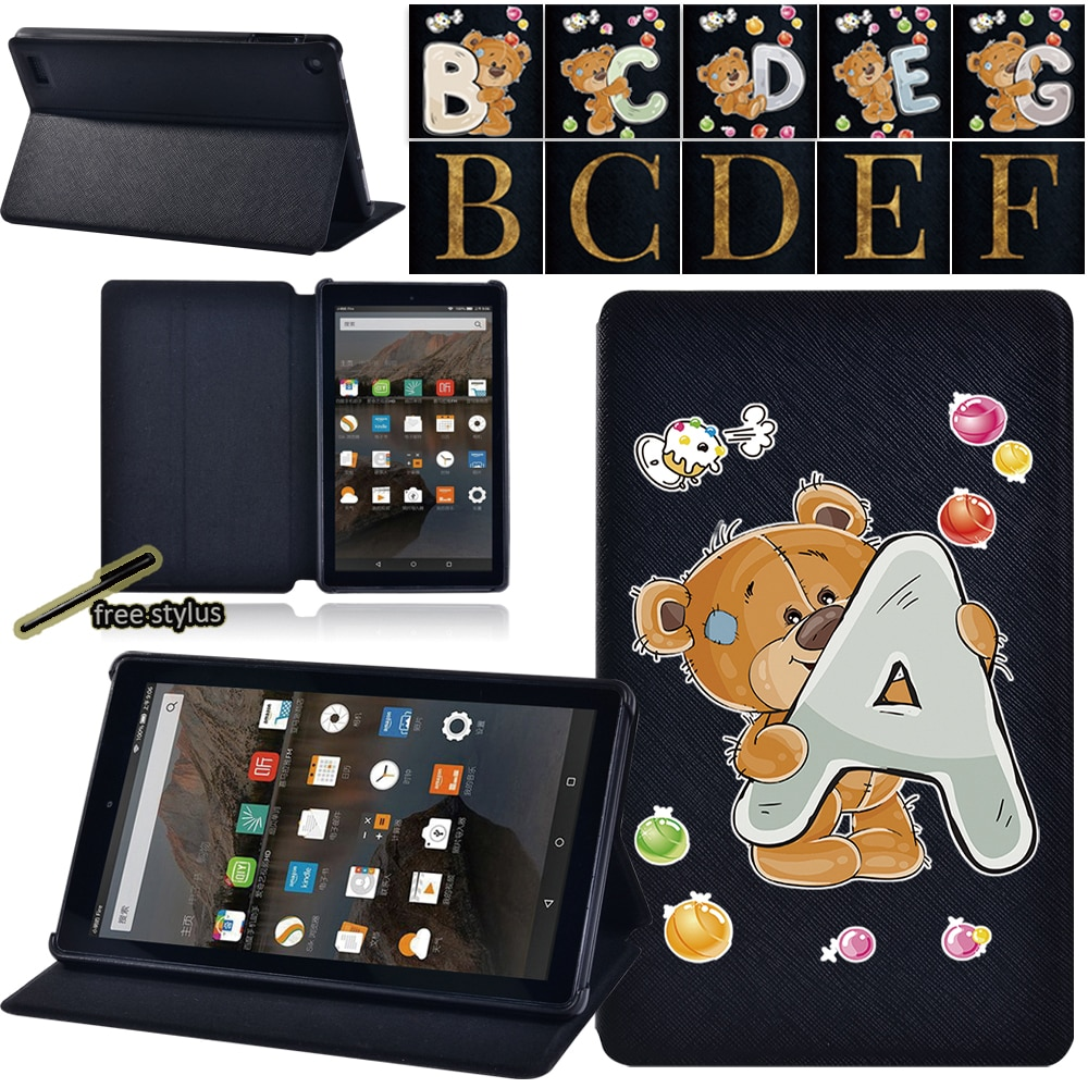 Tablet Case -Amazon Fire 7 (5th/7th/9th) - Lightweight Hard Shell Pu Leather Smart Cover