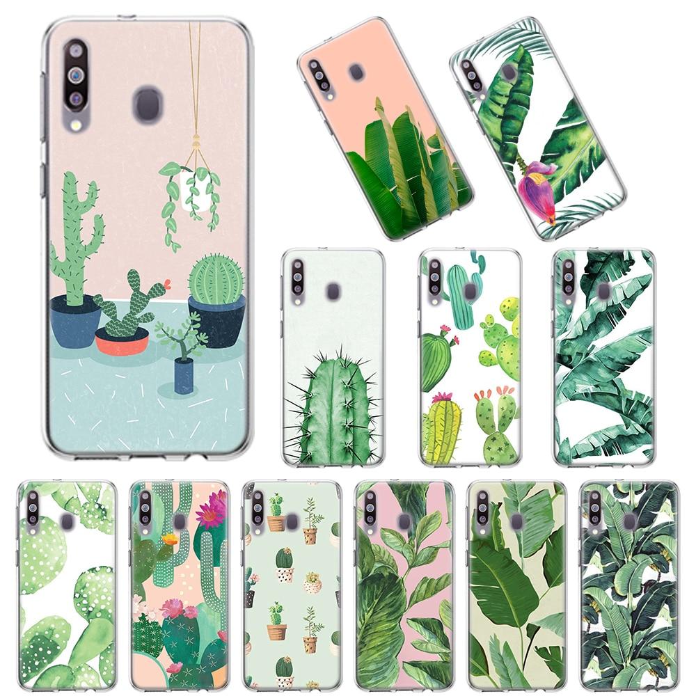 Suave de TPU para Samsung Galaxy A10 A10E A20E A20s A30 A40 A50 A70 A11 A41 A51 A71 A91 cubierta de la planta Tropical plátano hojas de árbol