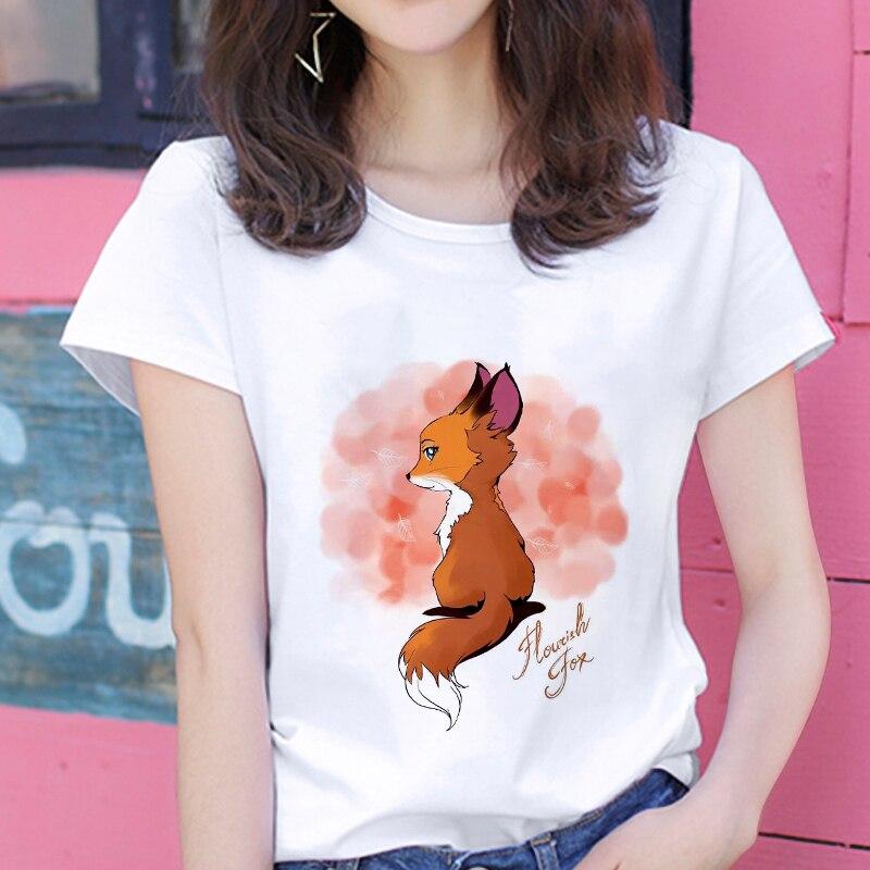 2020 nueva kawaii fox camiseta para mujer impresa hipster camiseta mujer temporadas Harajuku blanco 0-Cuello tops camiseta ropa