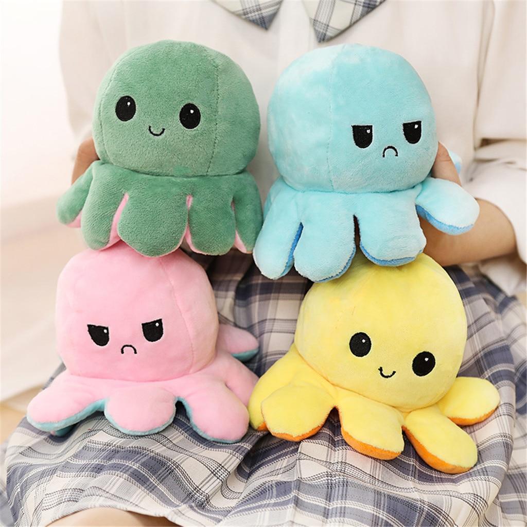 Симпатичные мягкие моделирование Octopu куклы для детей Рождественский подарок двухсторонний флип плюшевые игрушки для детей, подарок на ден...