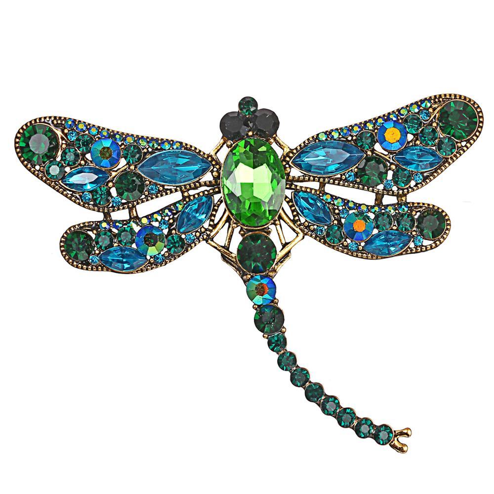Cristal do vintage libélula broches para o presente feminino broche pino moda vestido elegante casaco acessórios de roupas pino bonito jóias