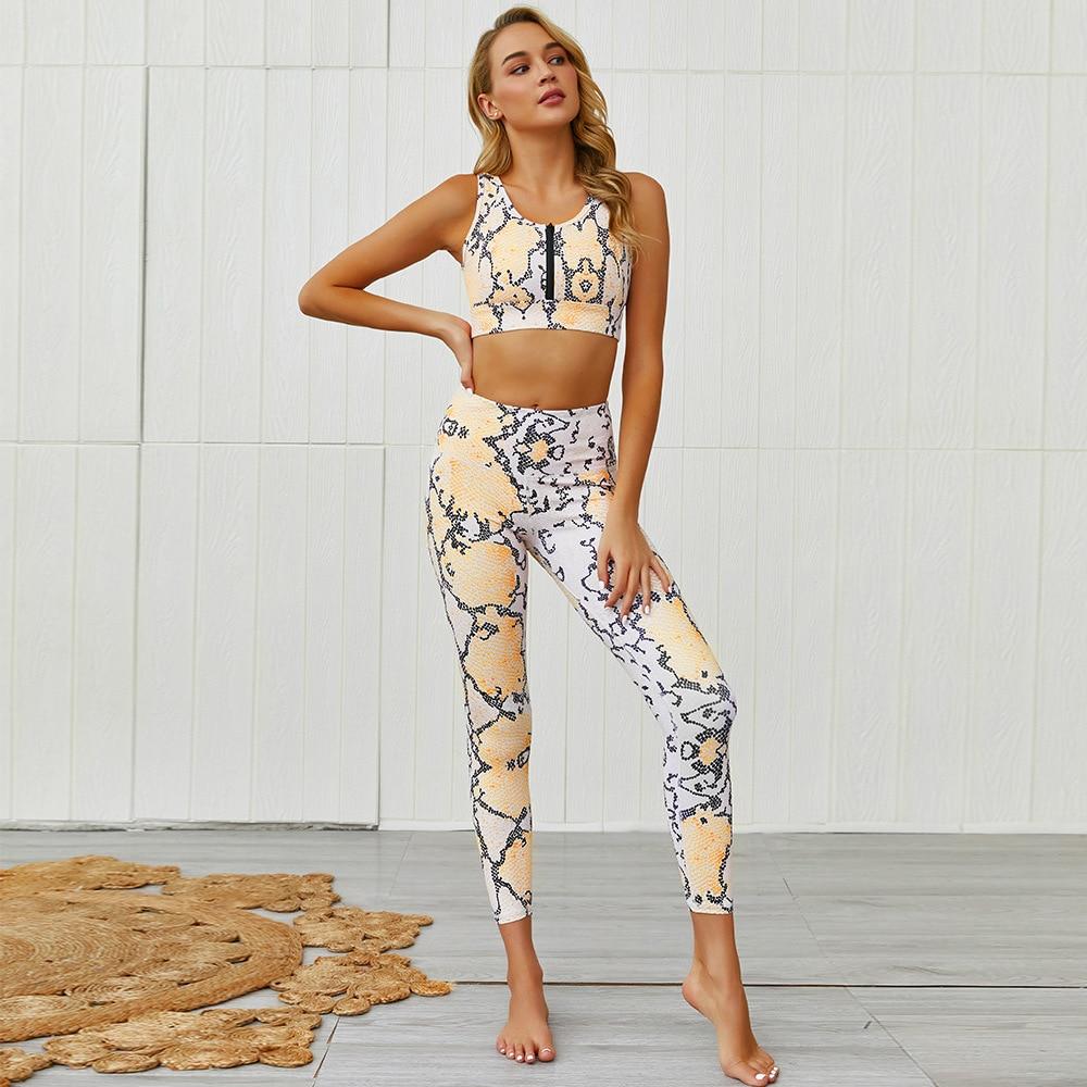 PENERAN, conjunto de gimnasio de Yoga de piel de serpiente, conjunto de Fitness para mujer, 2020, 2 piezas, ropa de entrenamiento de gimnasio para mujer, ropa de secado rápido activa única para mujer