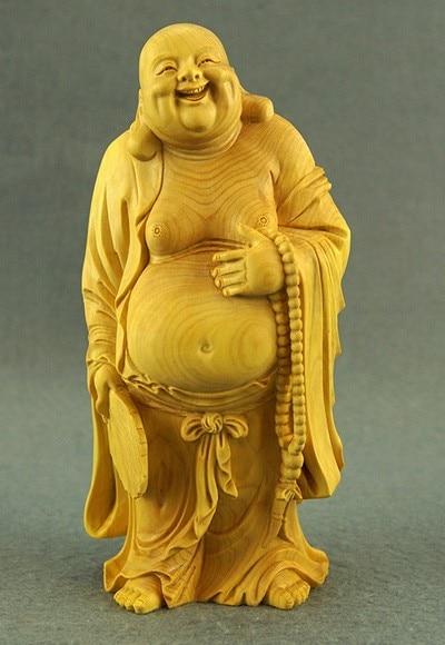 Delicada artesanía tradicional china encantadora estatua Maitreya de boj-sonrisa para abrir a...