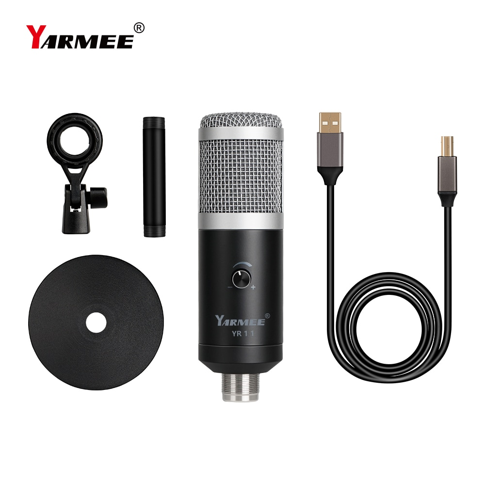 YARMEE Professional Condenser USB Computer Microphone With Stand For PC Recording Webcast Online Game Video Call Singing YouTube enlarge